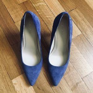 Calvin Klein bright blue suede pumps